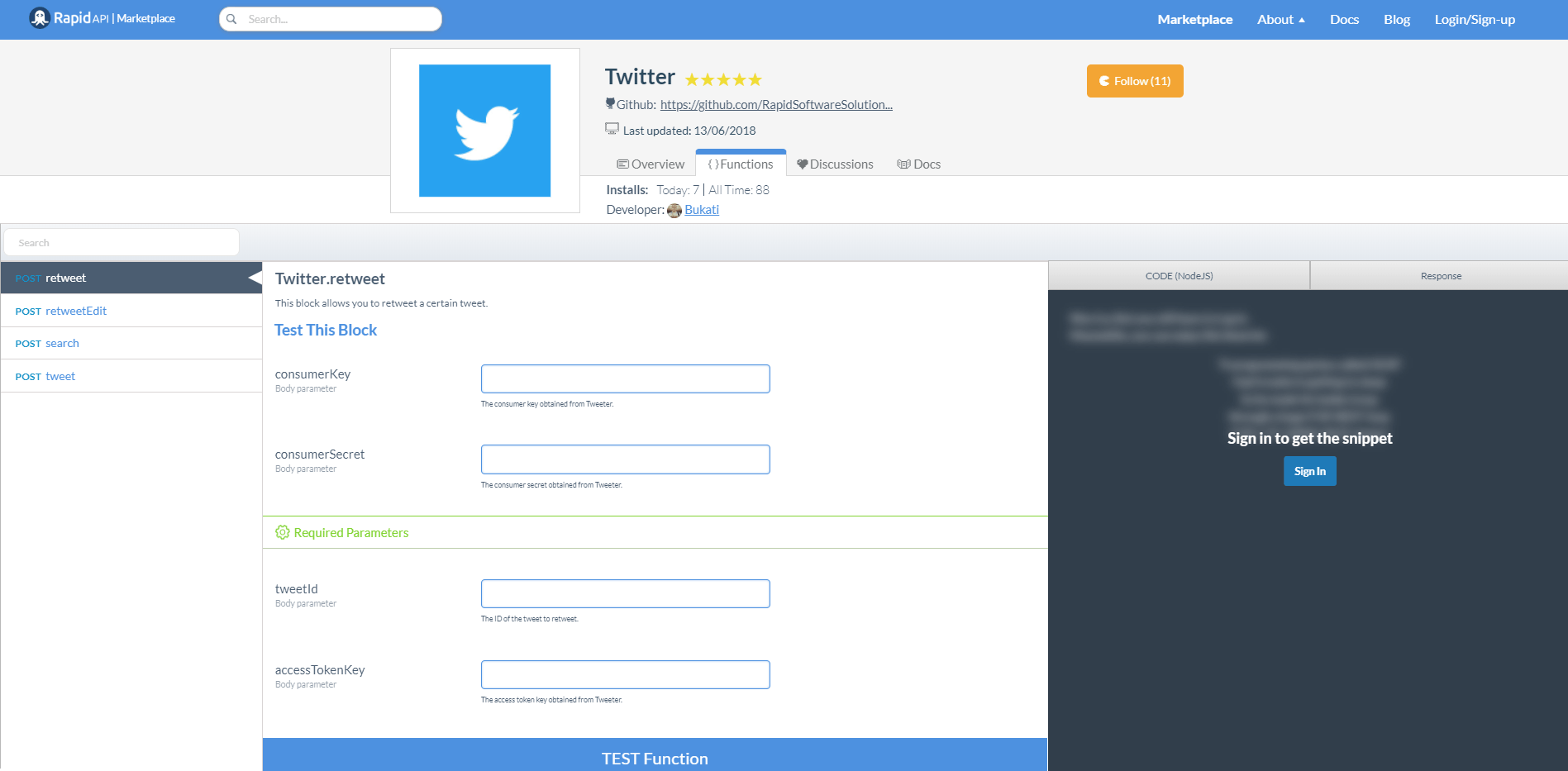 Twitter API Functions and Endpoints