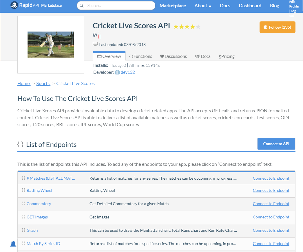 Cricket Live Scores API Documentation