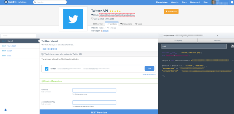 using Twitter API with PHP