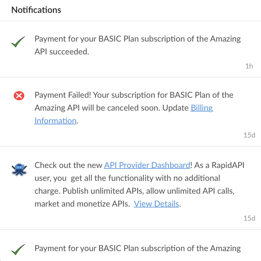 RapidAPI in-product notifications