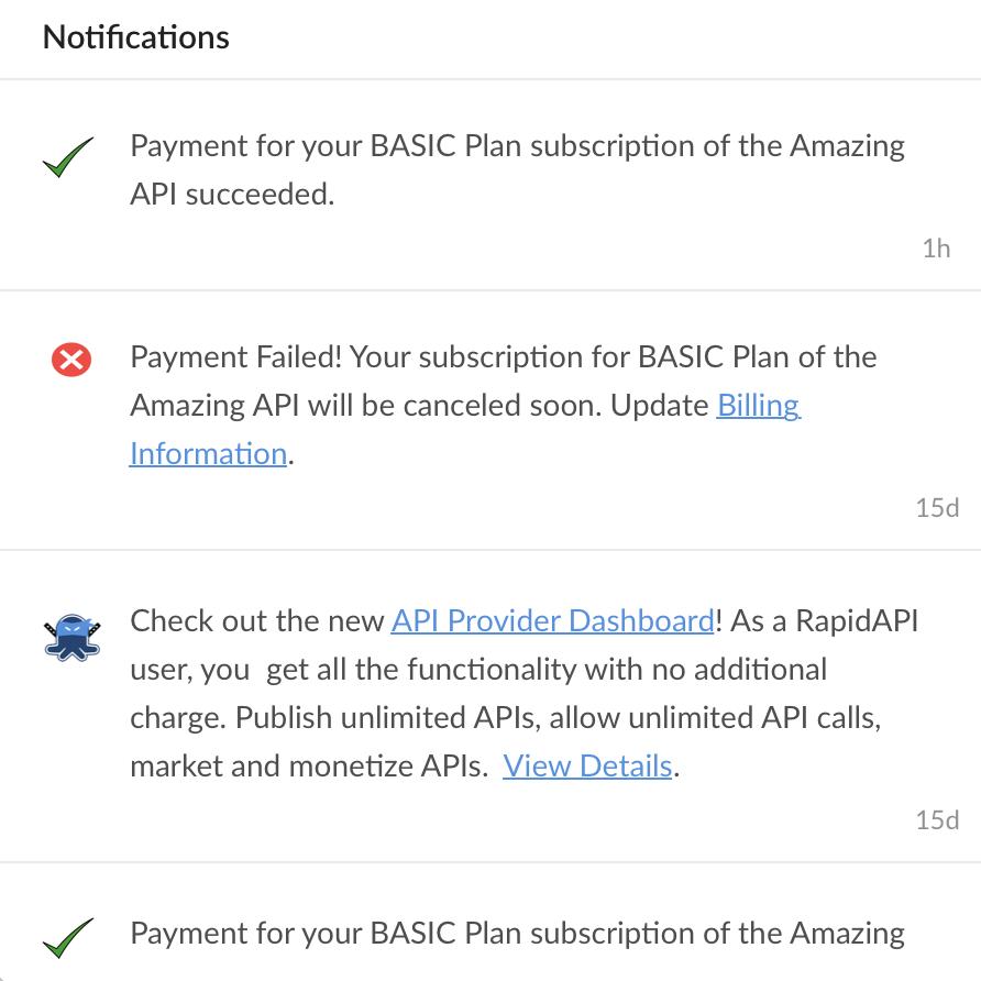 RapidAPI in-product notifications