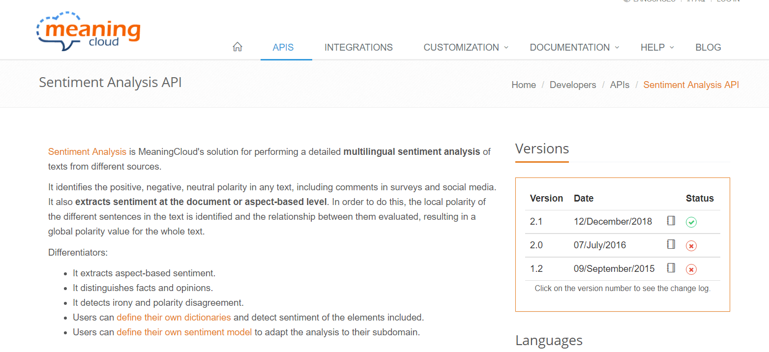 Sentiment Analysis API MeaningCloud