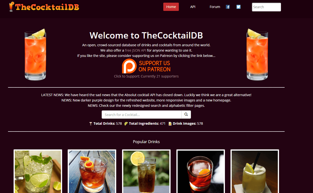 The Cocktail DB API Documentation
