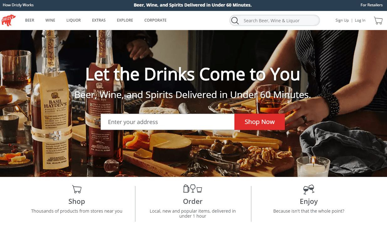 drizly homepage