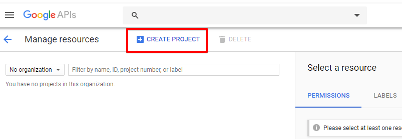 Google API Console - Create Project