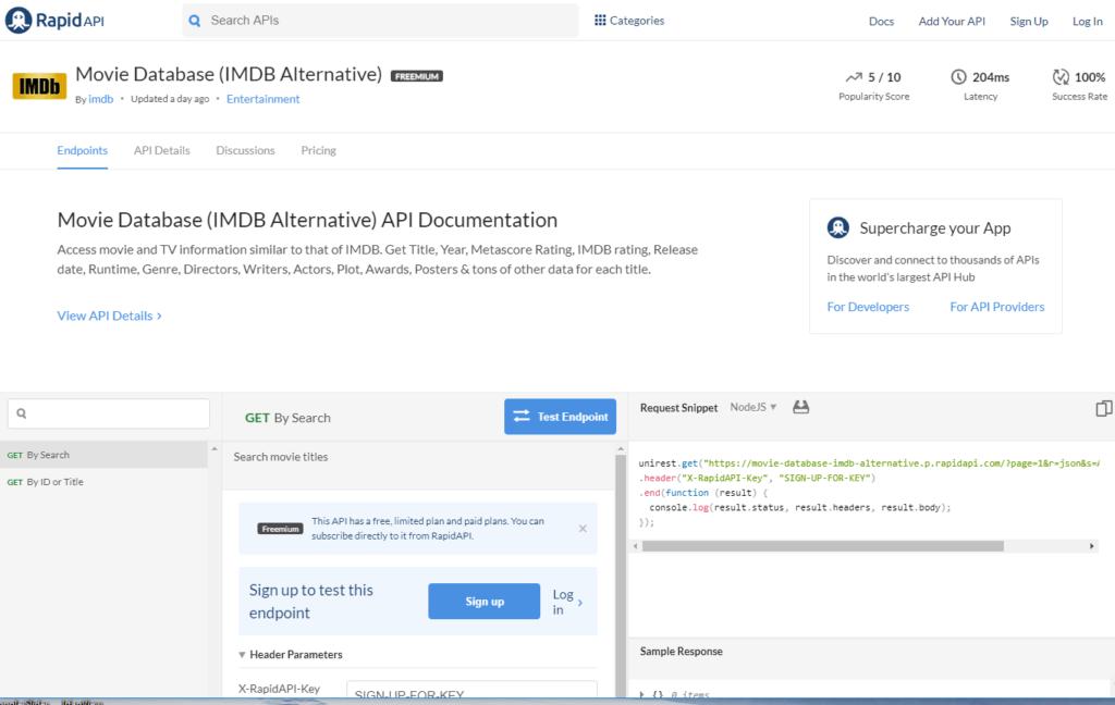 IMDb API documentation and endpoints