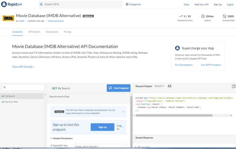 IMDb API documentation and endpoints