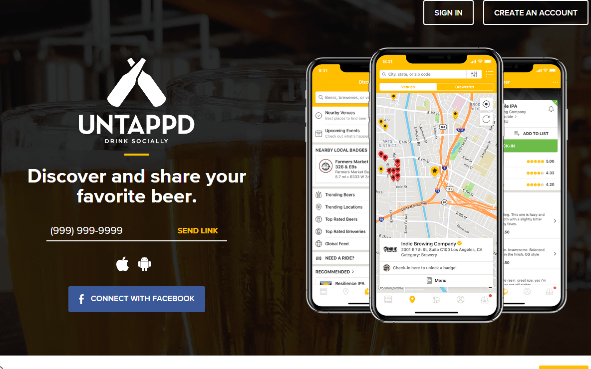 untappd homepage
