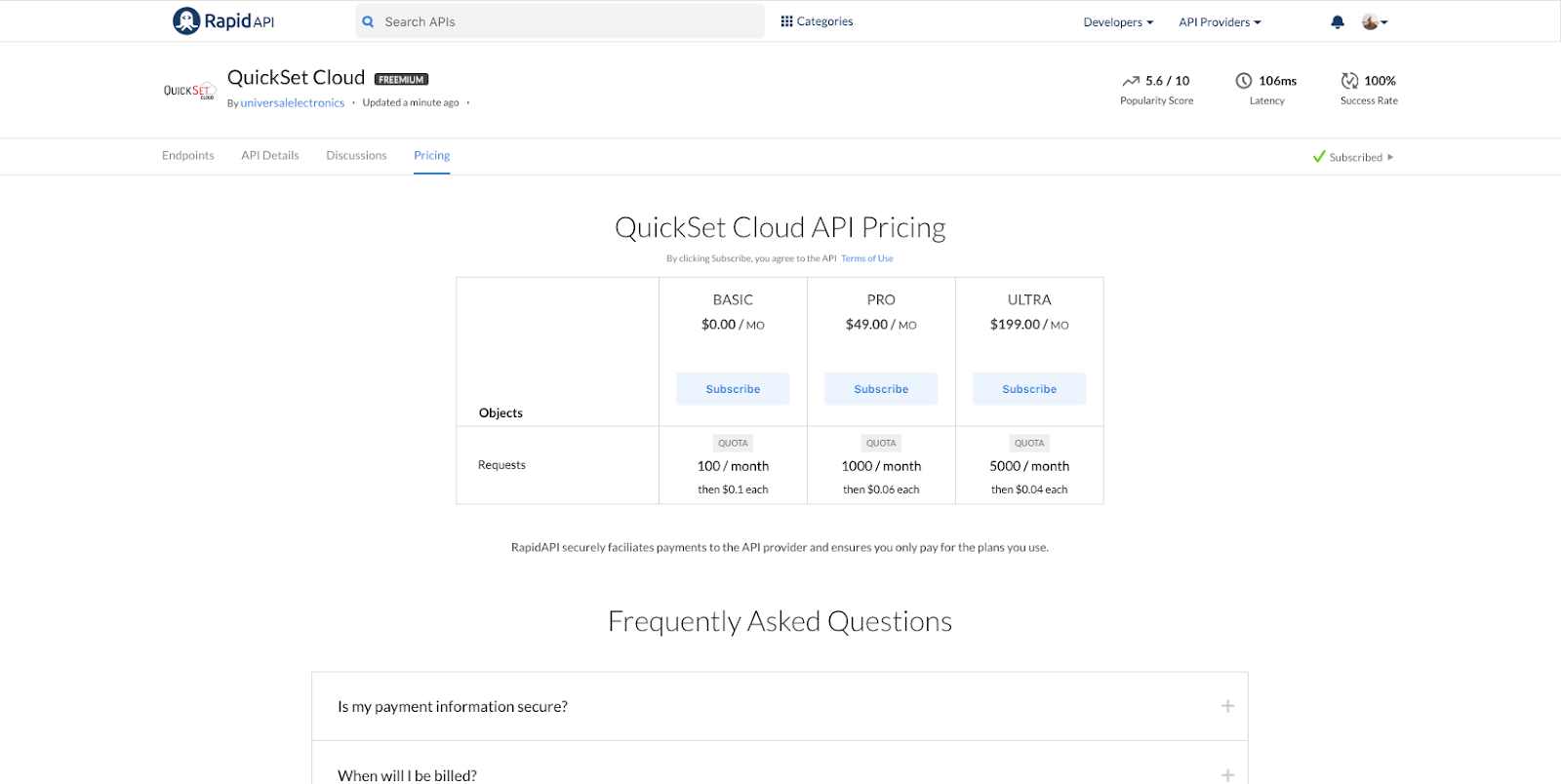 QuickSet Cloud API Pricing Page