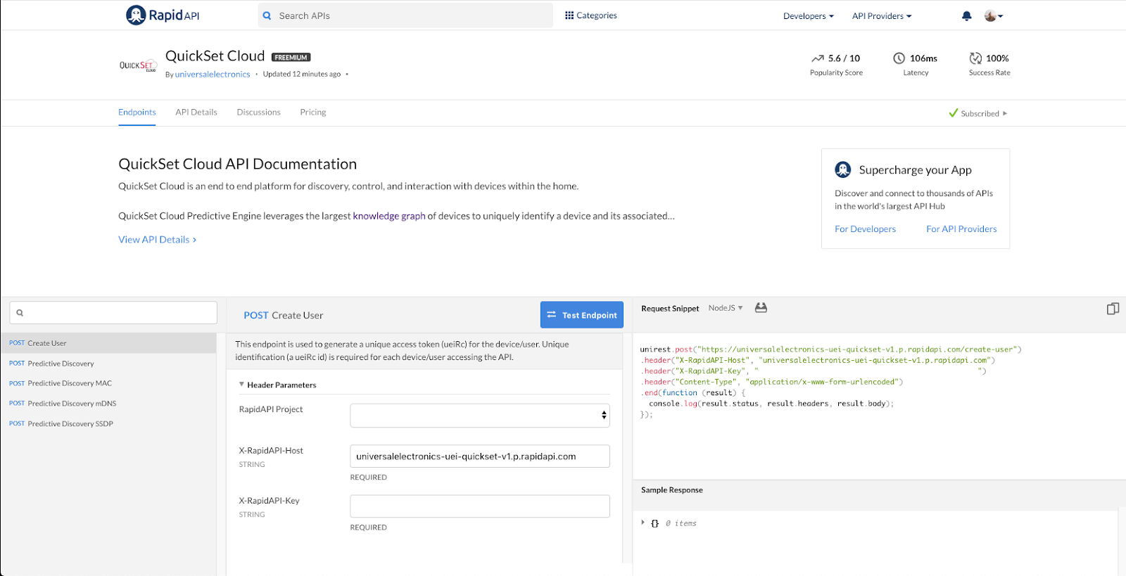 QuickSet Cloud API Listing