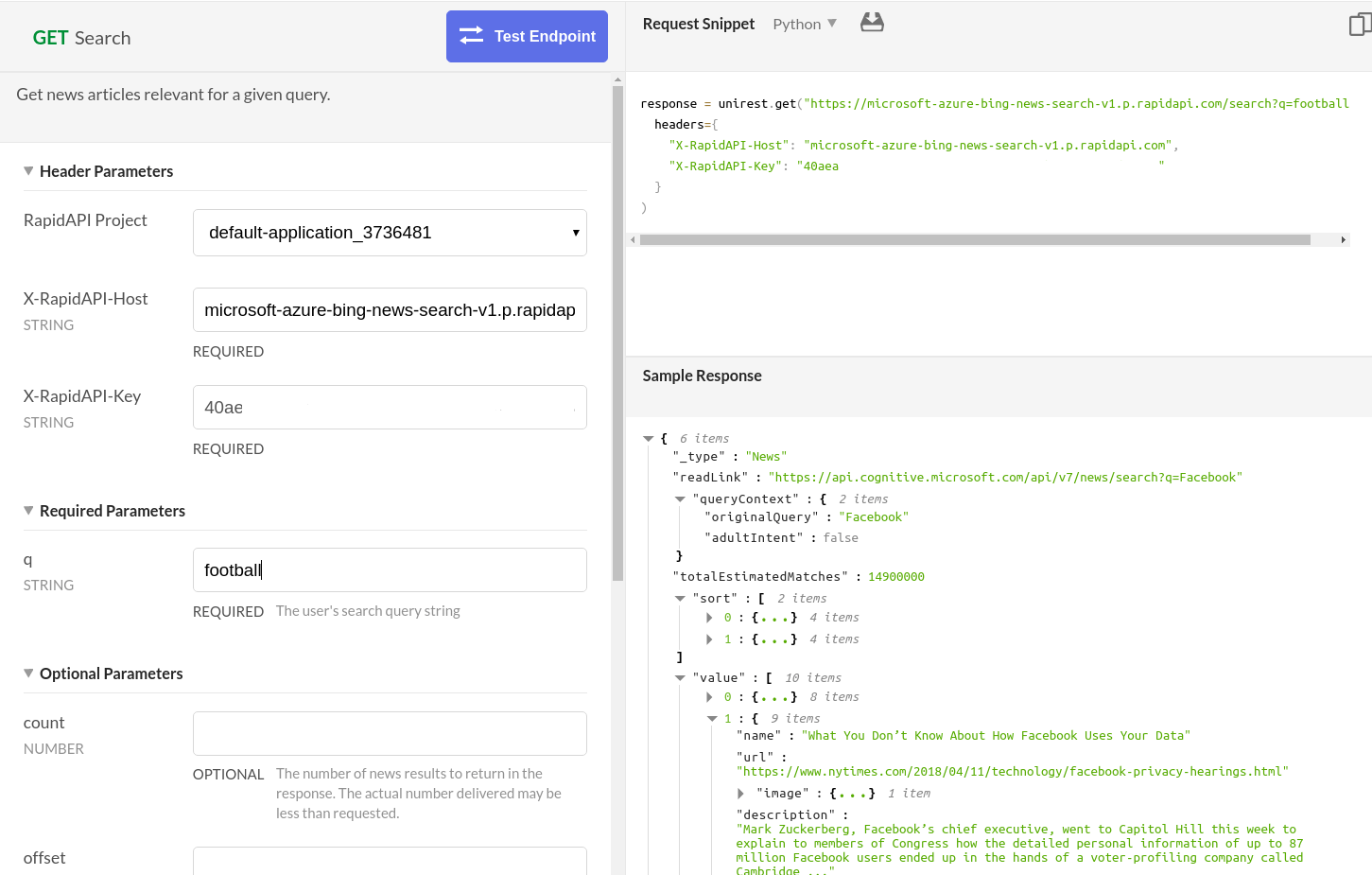 Bing News Search API Test Endpoint