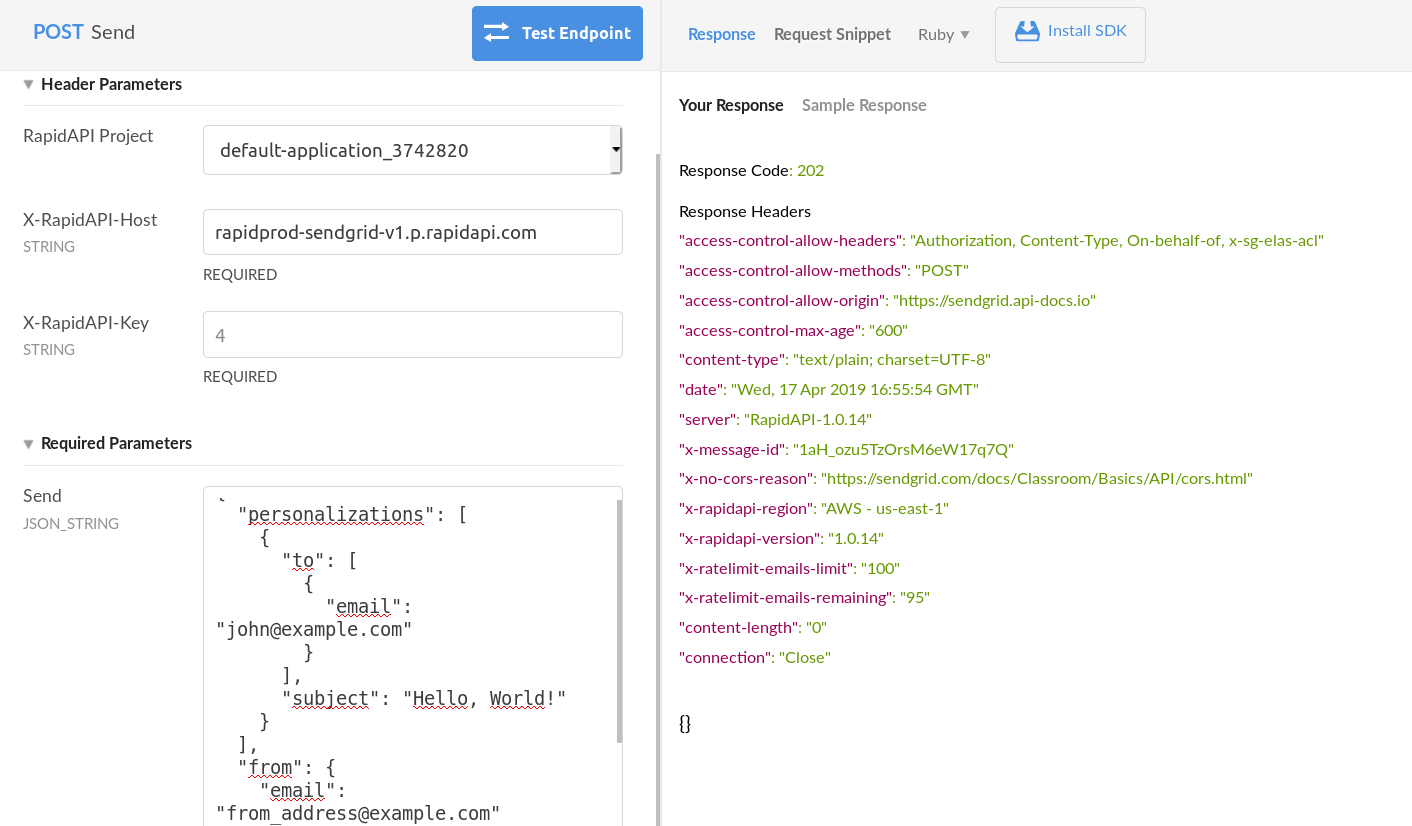SendGrid API Response