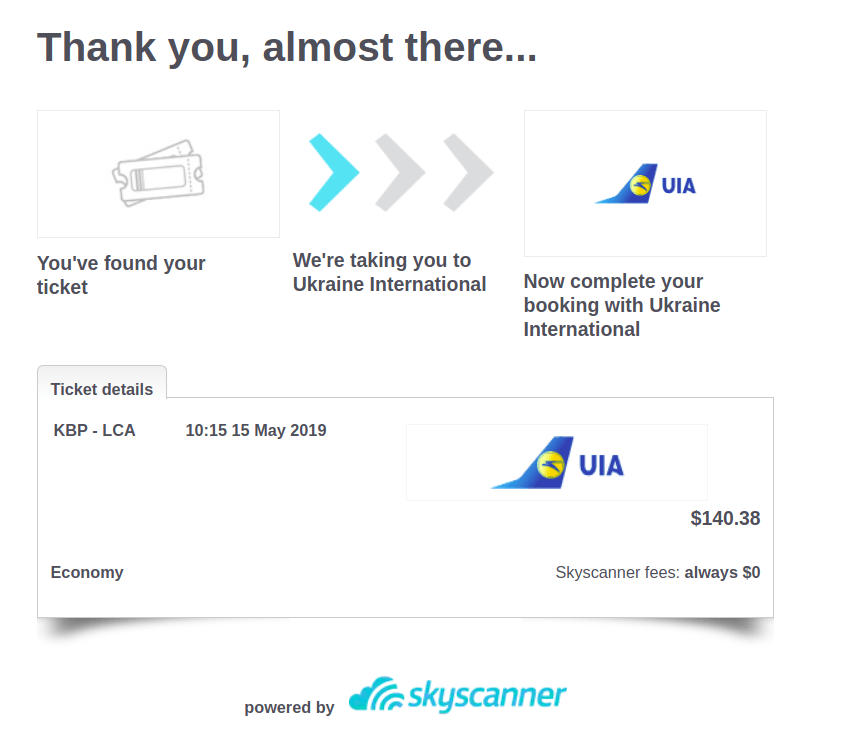 Skyscanner Buy Ticket