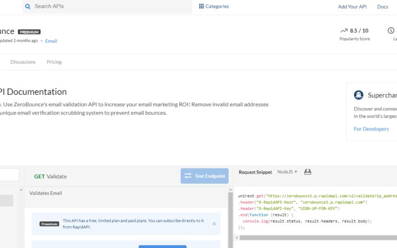 Zero Bounce API email scoring