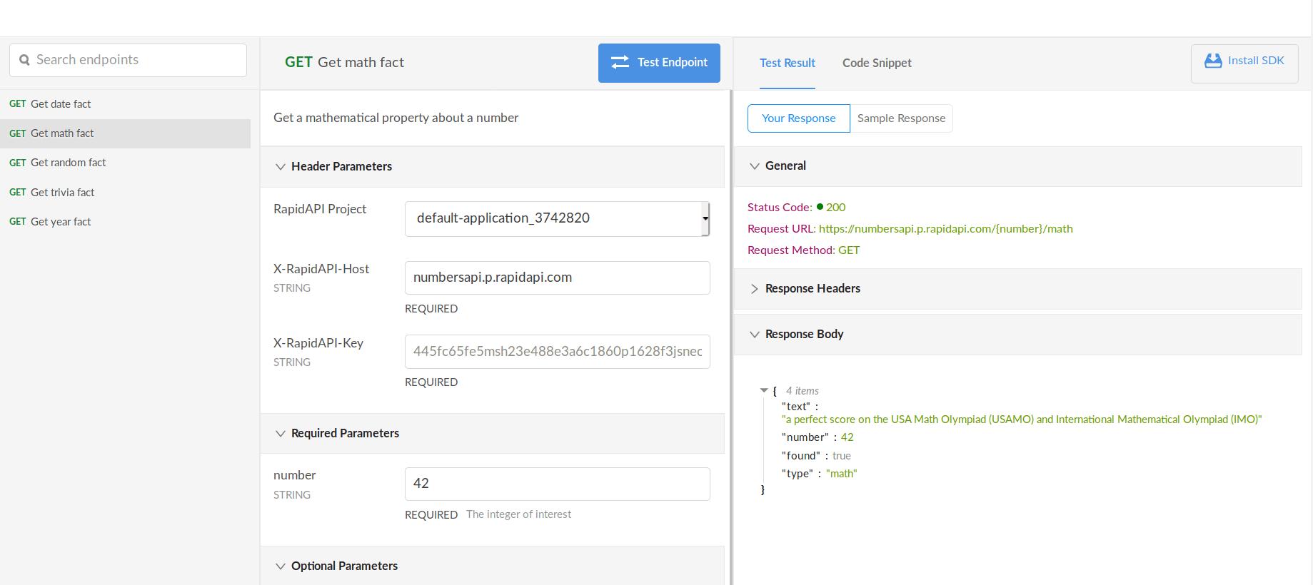 RapidAPI API Console