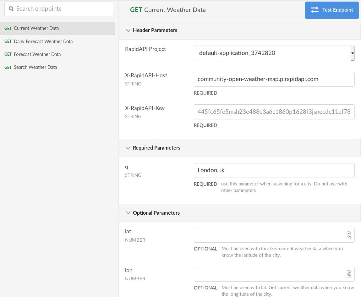 openweathermap API current weather data