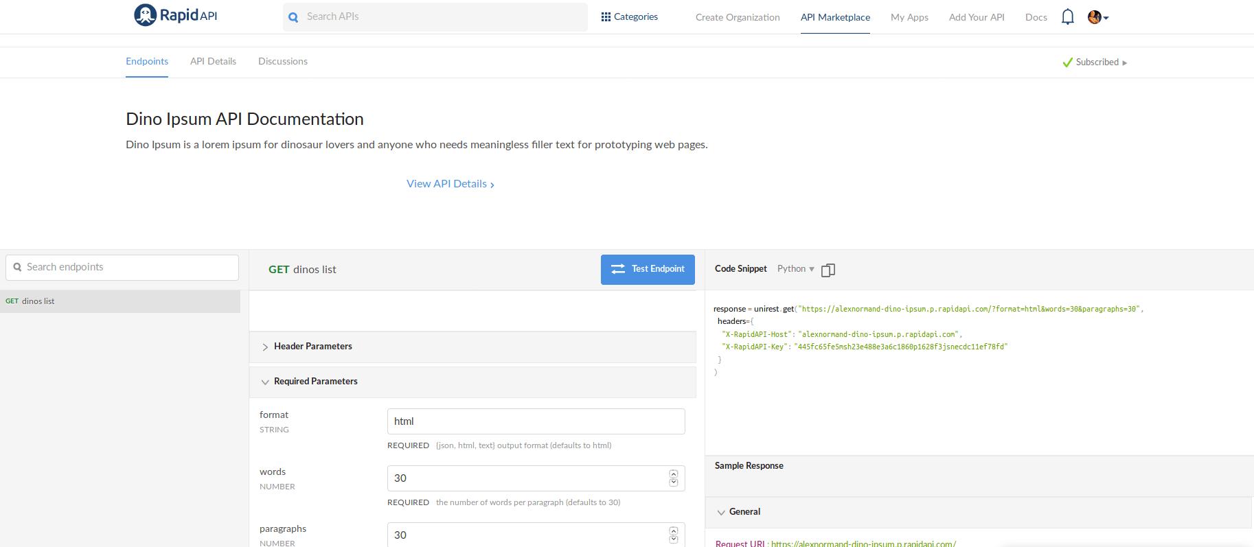 dino ipsum api documentation