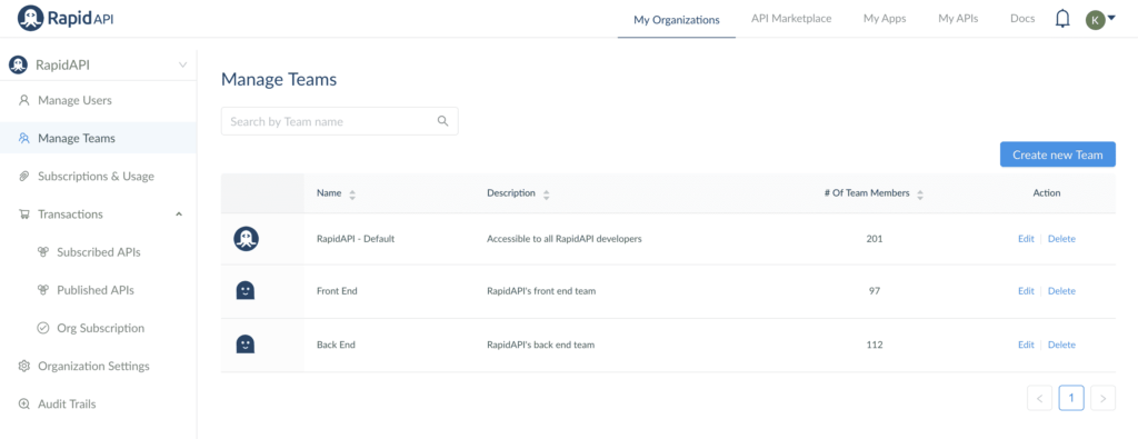 Manage Teams on RapidAPI for Teams