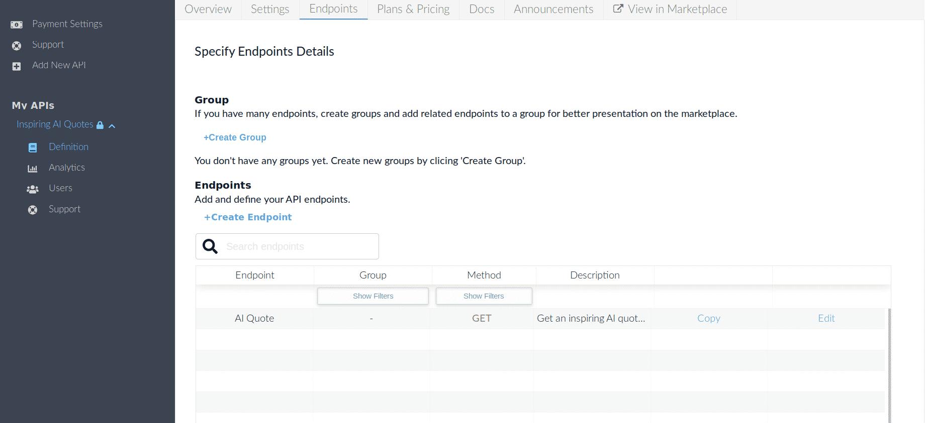 Specify API Endpoints RapidAPI