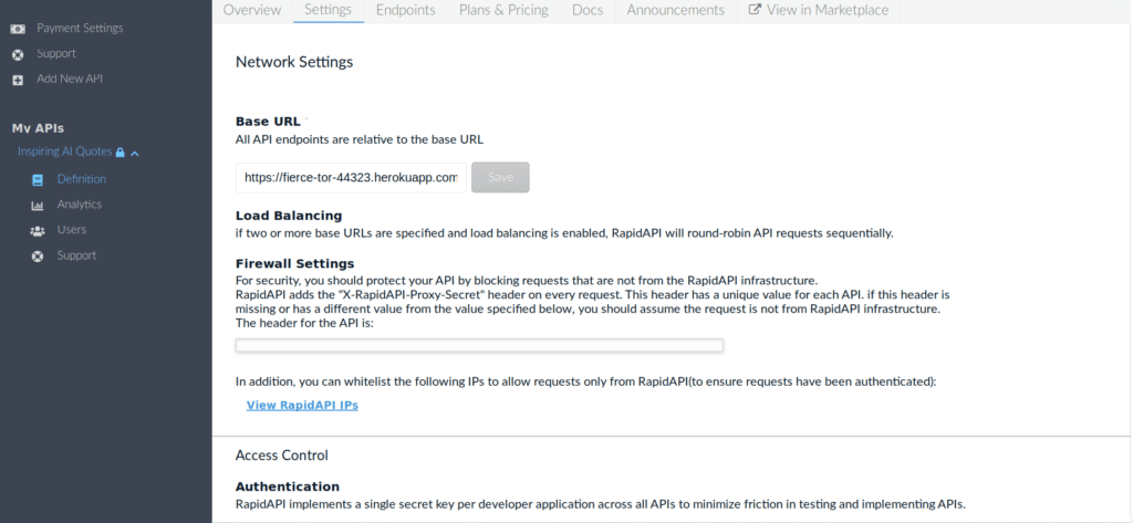 API Network Settings RapidAPI