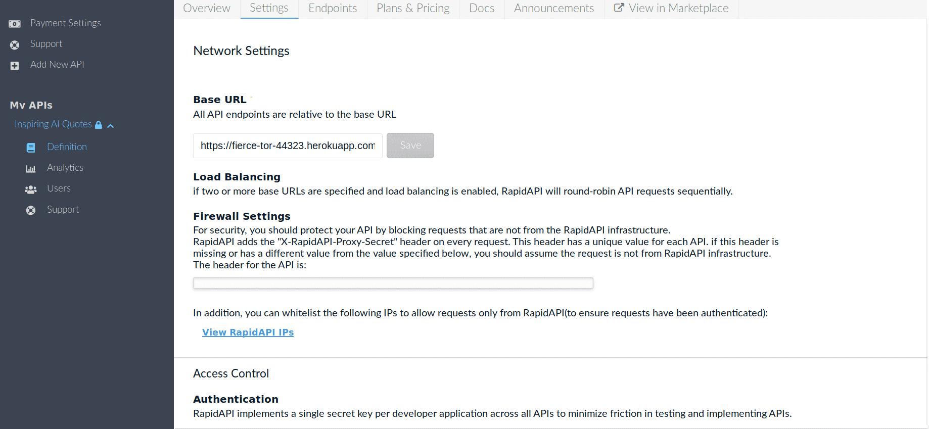 API Network Settings RapidAPI