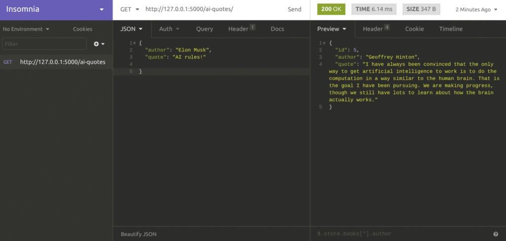 Testing Python API in Insomnia REST