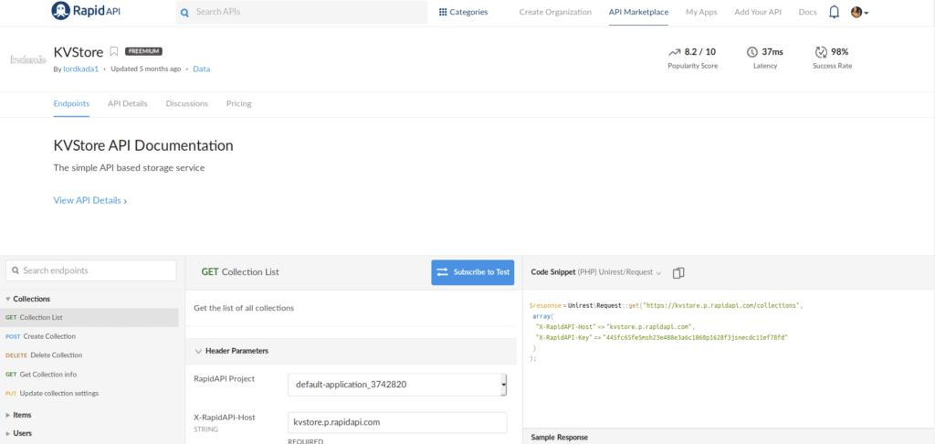 KVStore API Documentation on RapidAPI