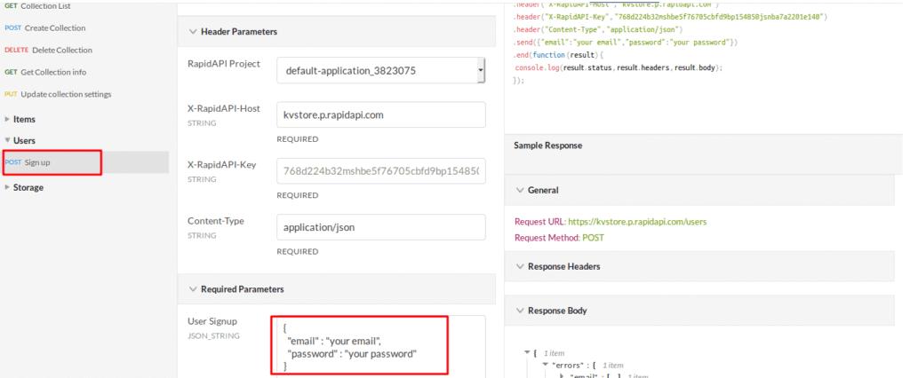 KVStore API Endpoint - POST Sign Up