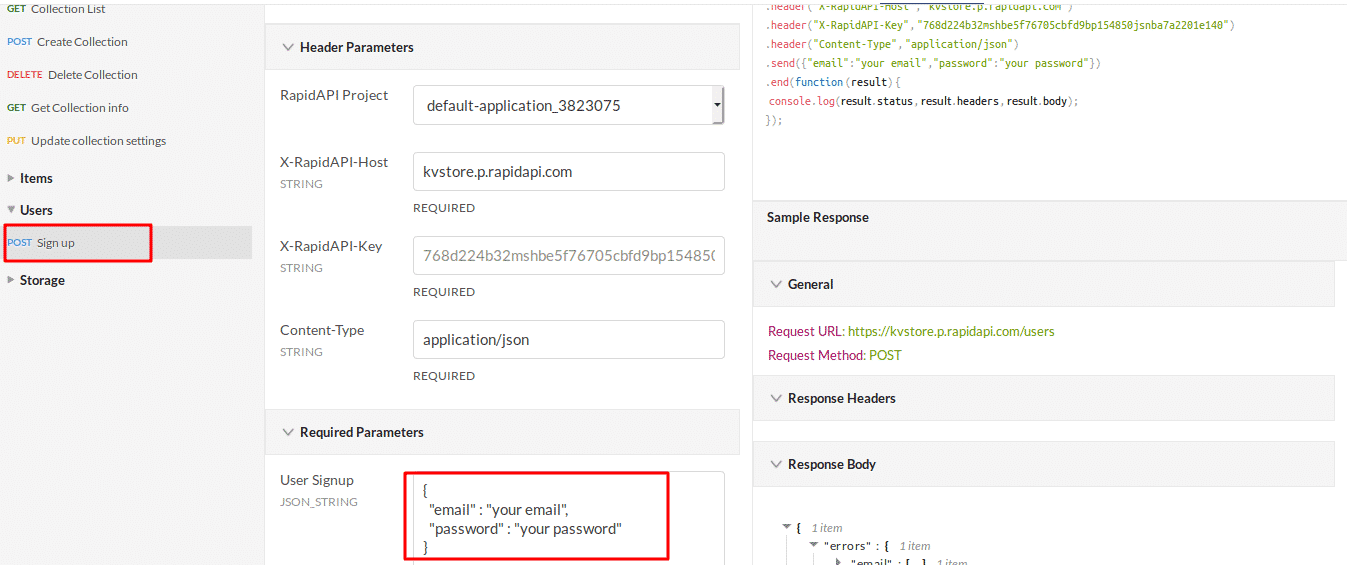 KVStore API Endpoint - POST Sign Up