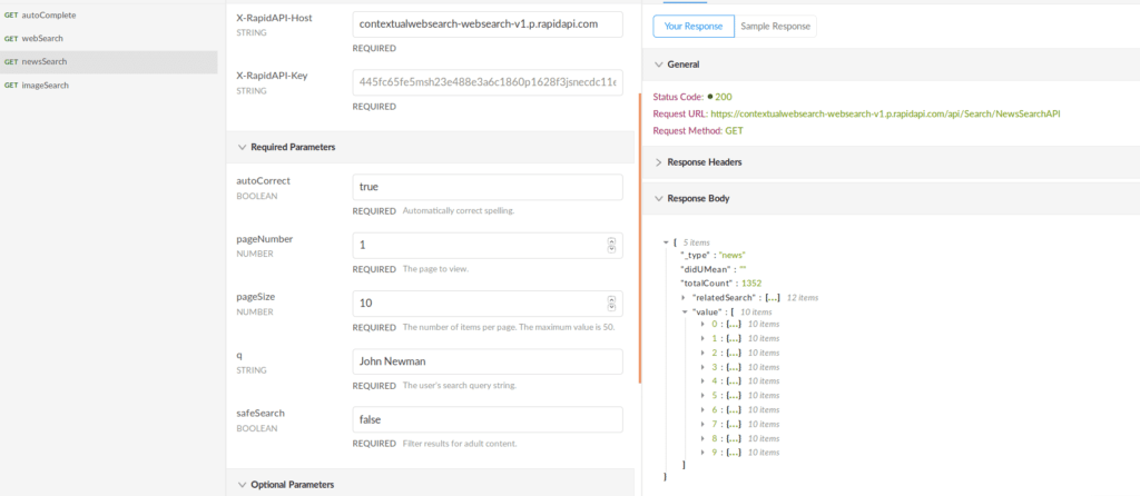 News Search API Endpoint