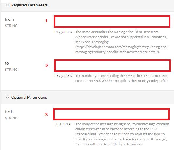Nexmo API Required Parameters on RapidAPI
