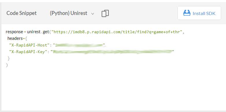 rapidapi python unirest code snippet