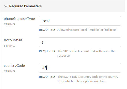 twilio api buy phone number required parameters