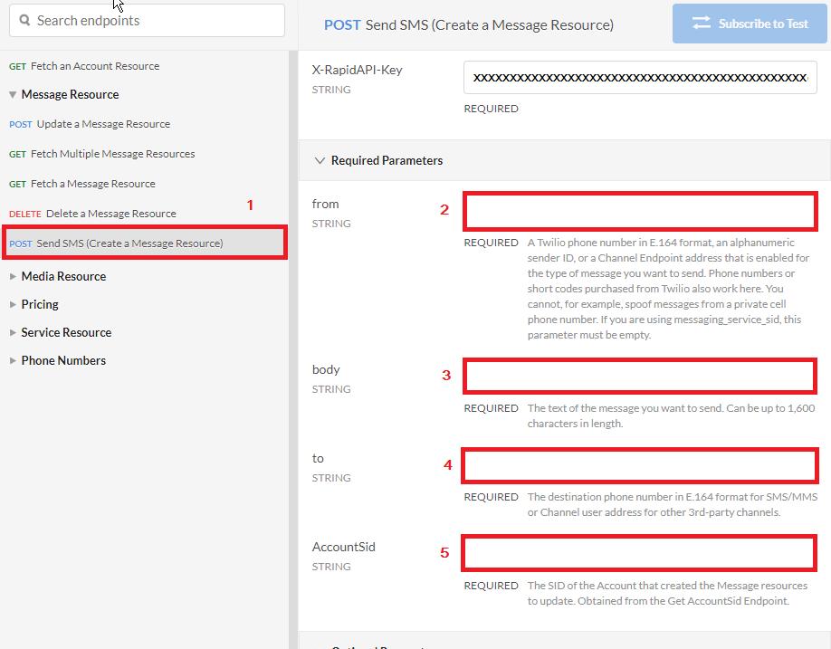 Twilio API Send SMS with RapidAPI Required Parameters