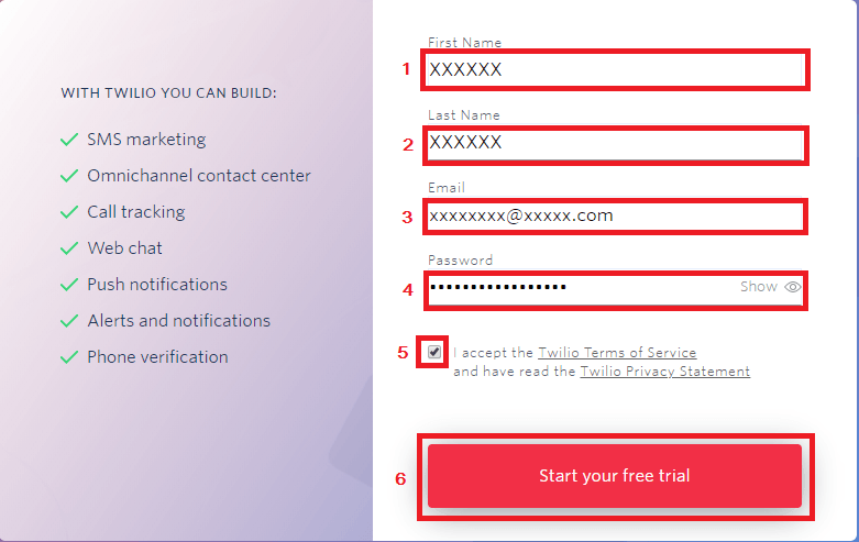 Twilio start your free trial