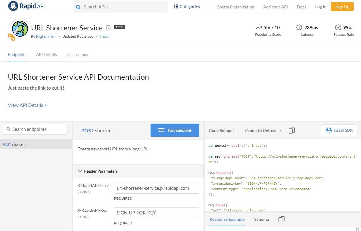 URL Shortener Service API Documentation