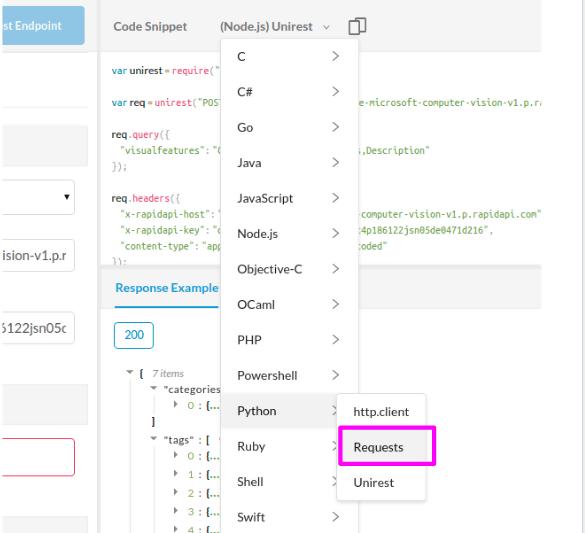 rapidapi python code snippet