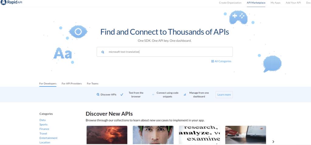 rapidapi homepage
