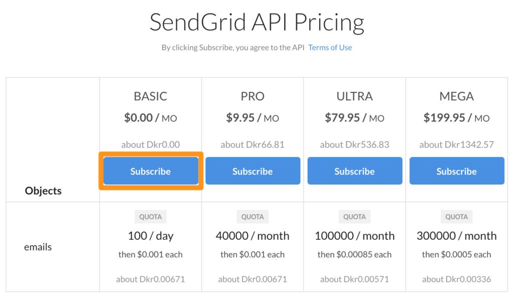 sendgrid api pricing