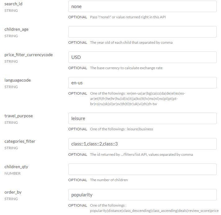 booking api optional parameters