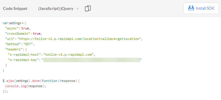 telize api jquery code snippet