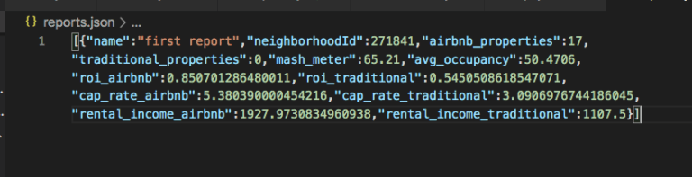 Airbnb JSON data from Mashvisor API