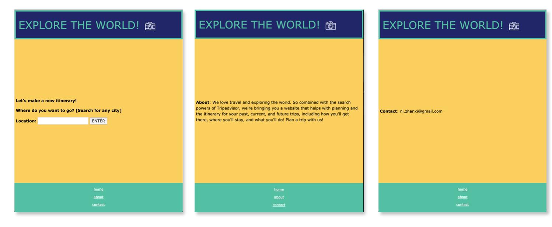 Three views for the web app.