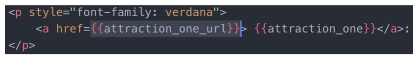 Use handlebars to call the variable that we saved.