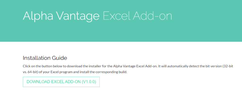 alpha vantage excel add on