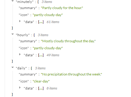 dark sky api forecast minutely hourly daily