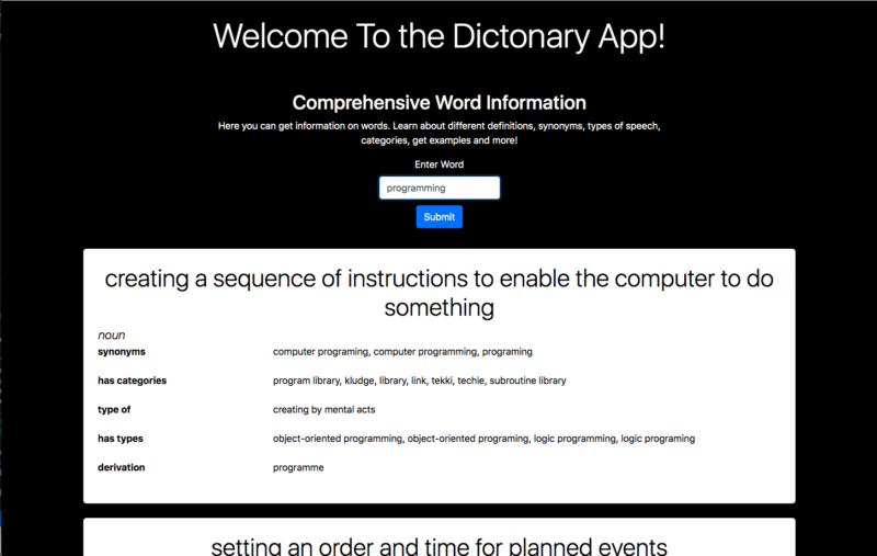 welcome to the dictionary app homepage, programming returned a definition