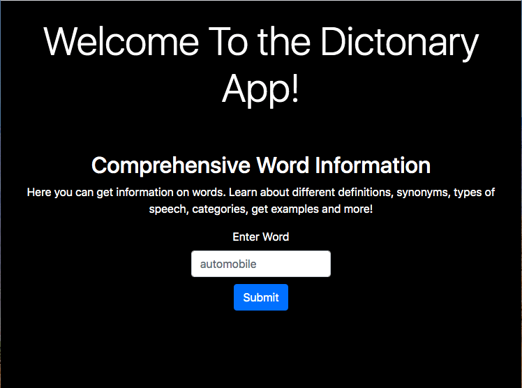 welcome to the dictionary app! wordsapi