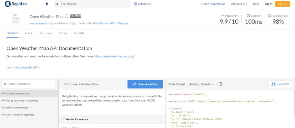 OpenWeatherMap API RapidAPI