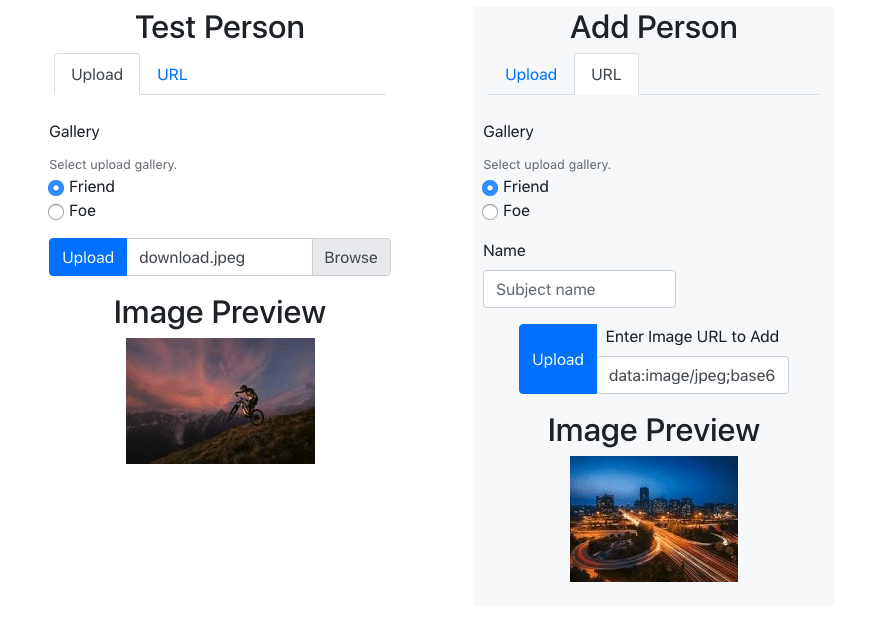 two forms showing image preview with images